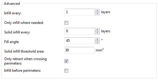 Расширенные настройки заполнения Slic3r