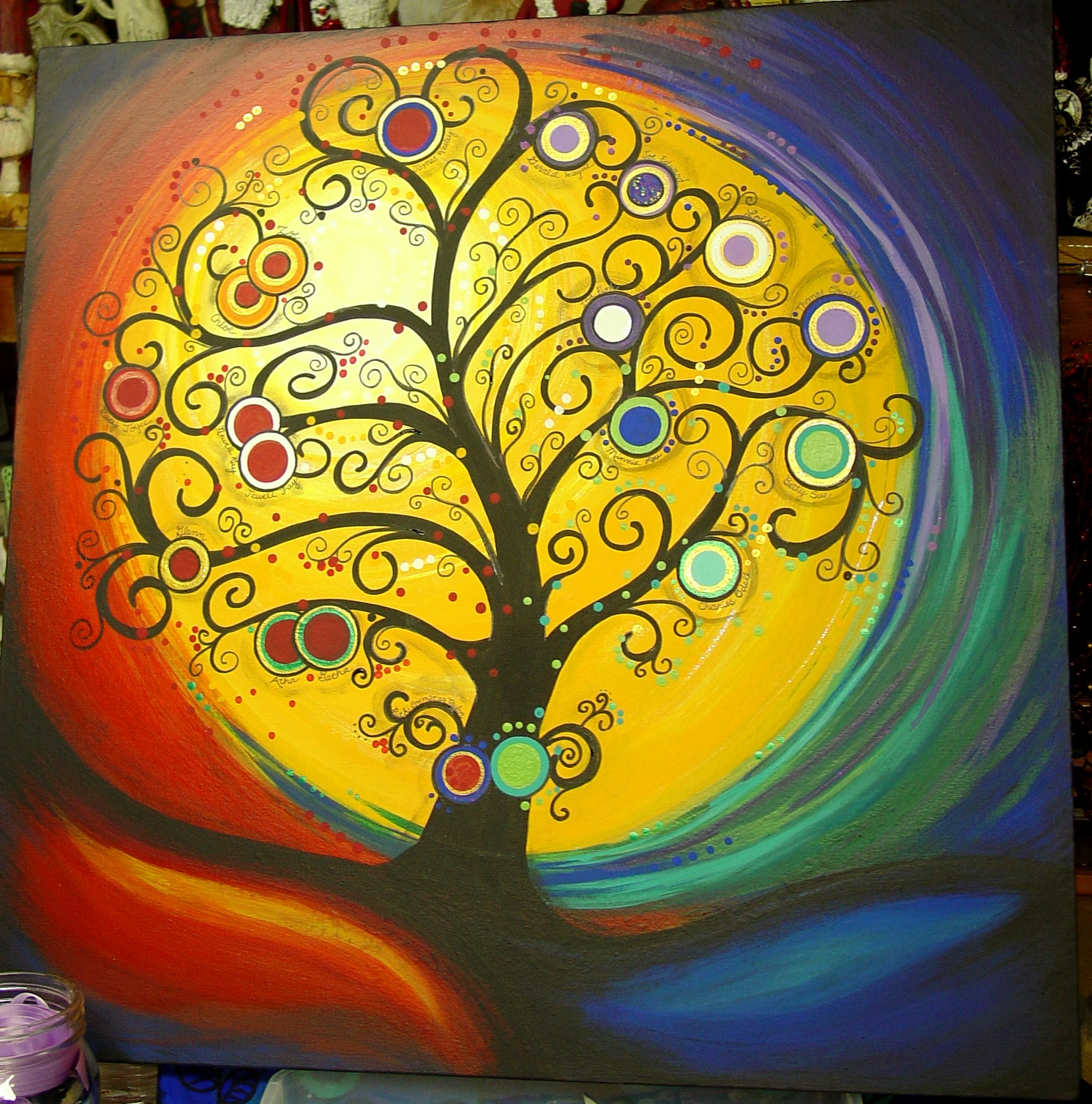 Here Is A Commissioned Tree For Family With 19 Kids Including Three Sets Of Twins What Challenge To Incorporate All The Birthstone Colors Into This