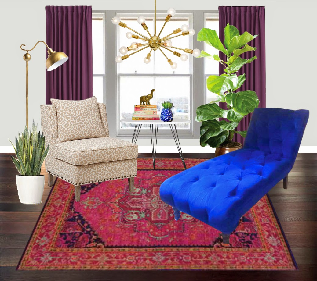 Here is my take on a bright blue chaise lounge! rug / accent chair ... & A Soliloquy by Bethany: As Seen On Craigslist - Cobalt Blue Chaise ...