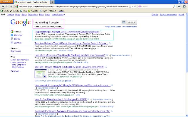 Hasil Posting Top Ranking 1 Google 2011 Setelah 96 Jam di Google Indonesia - Top Ranking 1 Google