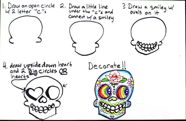 Super Simple Step by Step Sugar Skulls Drawing