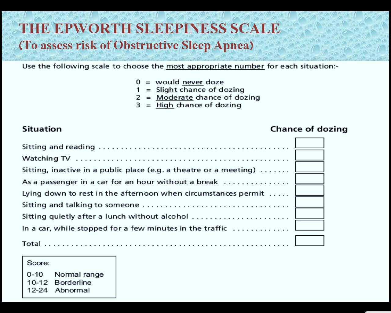 Sleepiness scale