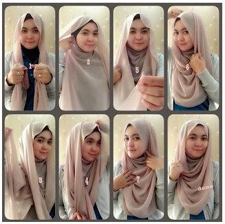 Foto Tutorial Cara Pakai Hijab Modern Syar'i Terbaru