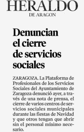 Cierre centros de servicios sociales Zaragoza