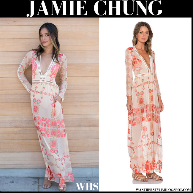 Jamie Chung in cream and peach coral print boho Barcelona maxi dress from For Love & Lemons what she wore bridal shower boho style