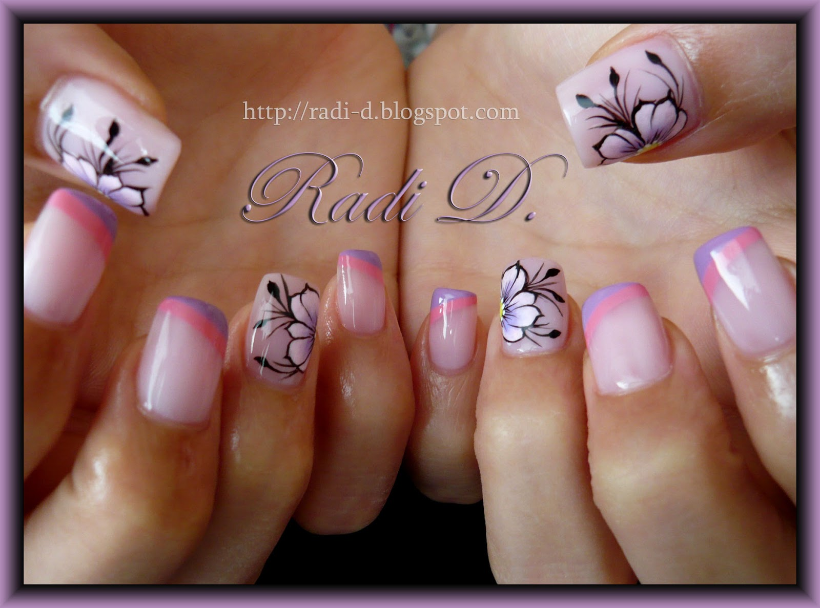 It`s all about nails: Two coloured diagonal french and Flowers