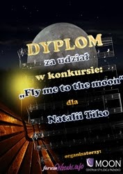 Dyplom za udział w konkusie pt. Fly me to the moon