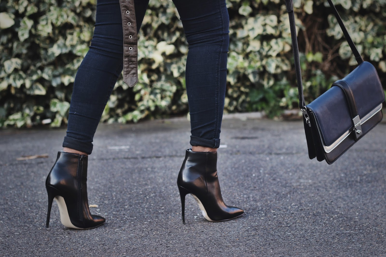 Black Leather Stlletto Ankle Boots