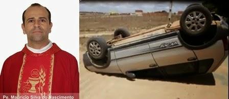 Padre Mauricio Sofre acidente automobilistico no dia de Natal em Surubim