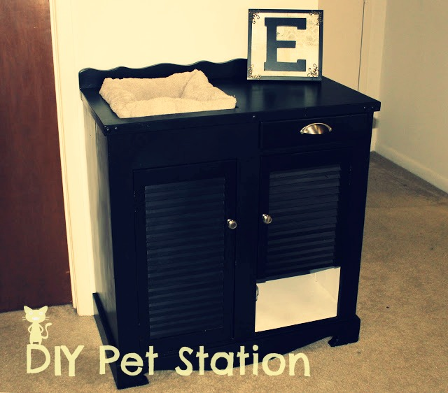 Black DIY upcycled pet station furniture