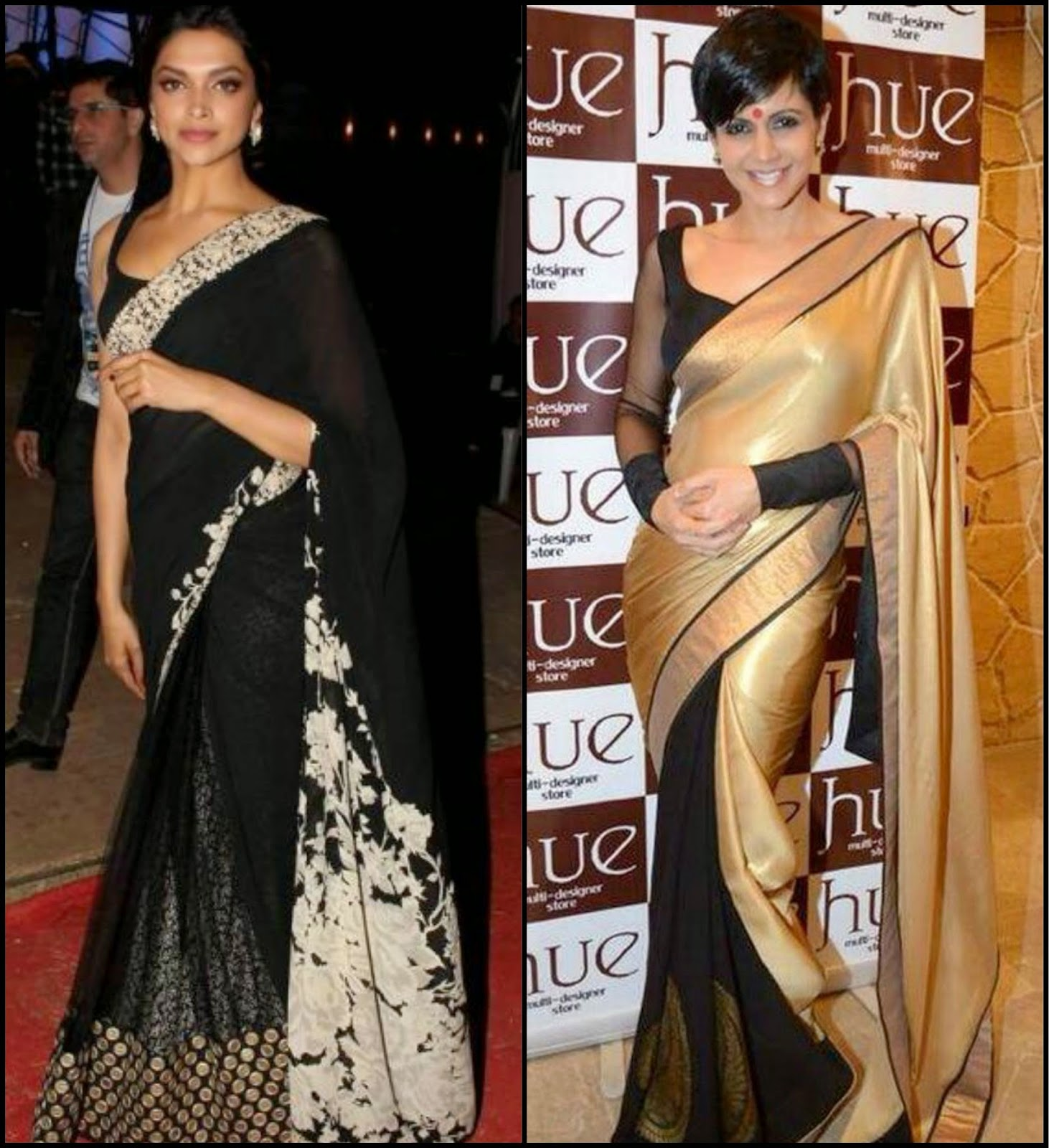 Deepika & Mandira in black saree, celebs in black saree, black half and half saree