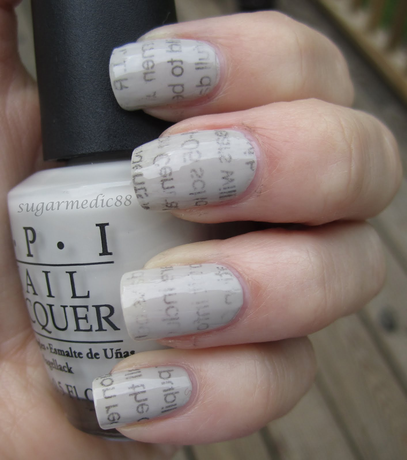 The Polished Medic: Newspaper Nails withOUT Alcohol (Vodka)