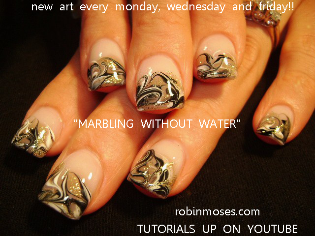 black white and taupe nail art marbling without water