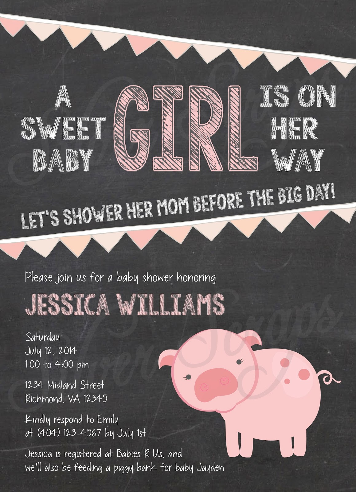 Chalkboard, Bunting and Pink Piggy Custom Girl Baby Shower Invitation - Pig Farm Garland Banner Flags Chalk Black White - 5 Printable Designs - Silver Scraps Peach Light Pink Blush Cream Fruit Slices