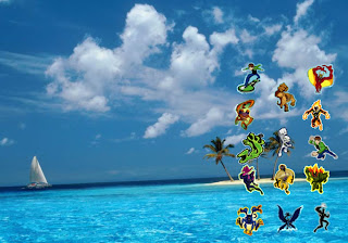 Ben Ten free posters wallpapers Ben 10 Alien Force Monsters in Blue Tropical Island background