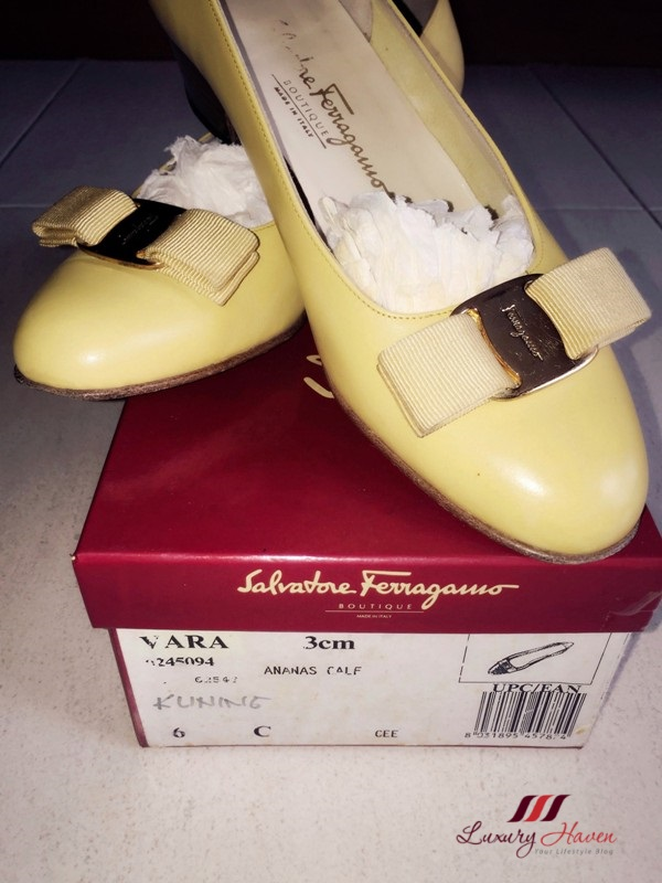 yellow salvatore ferragamo vara pumps ananas calf