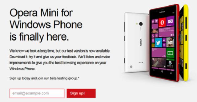 Opera Mini chính thức ra mắt trên Windows Phone