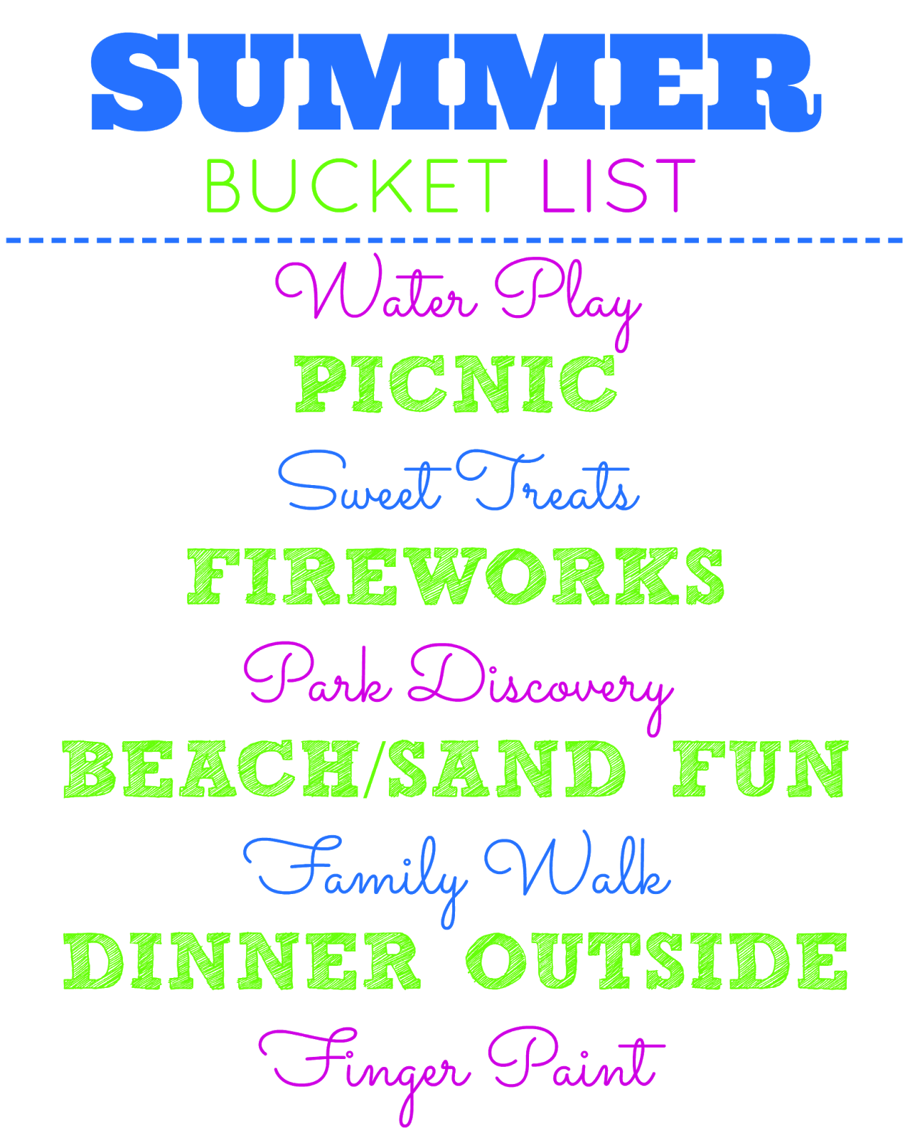 Summer Bucket List activities for families