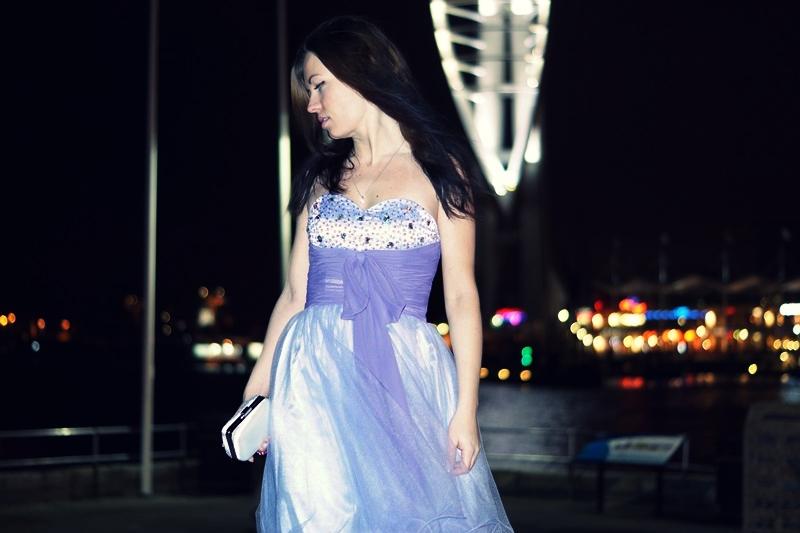 Cocktail purple dress on fashon blog