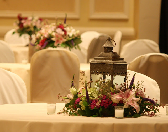 Splendid Stems Event Florals - Flower Table Centerpiece with Candle Lantern - Hilton Hotel Albany Crowne Plaza