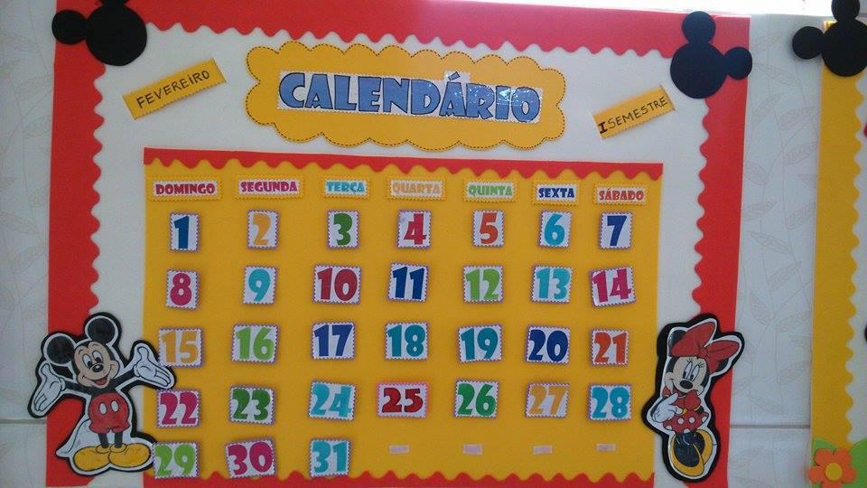 Calendário Decoração para Sala de Aula Mickey e Minnie Espaço do Educador Ideia Criativa