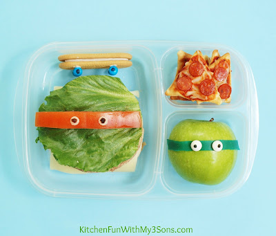TMNT Teenage Mutant Ninja Turtle Bento Lunch from KitchenFunWithMy3Sons.com