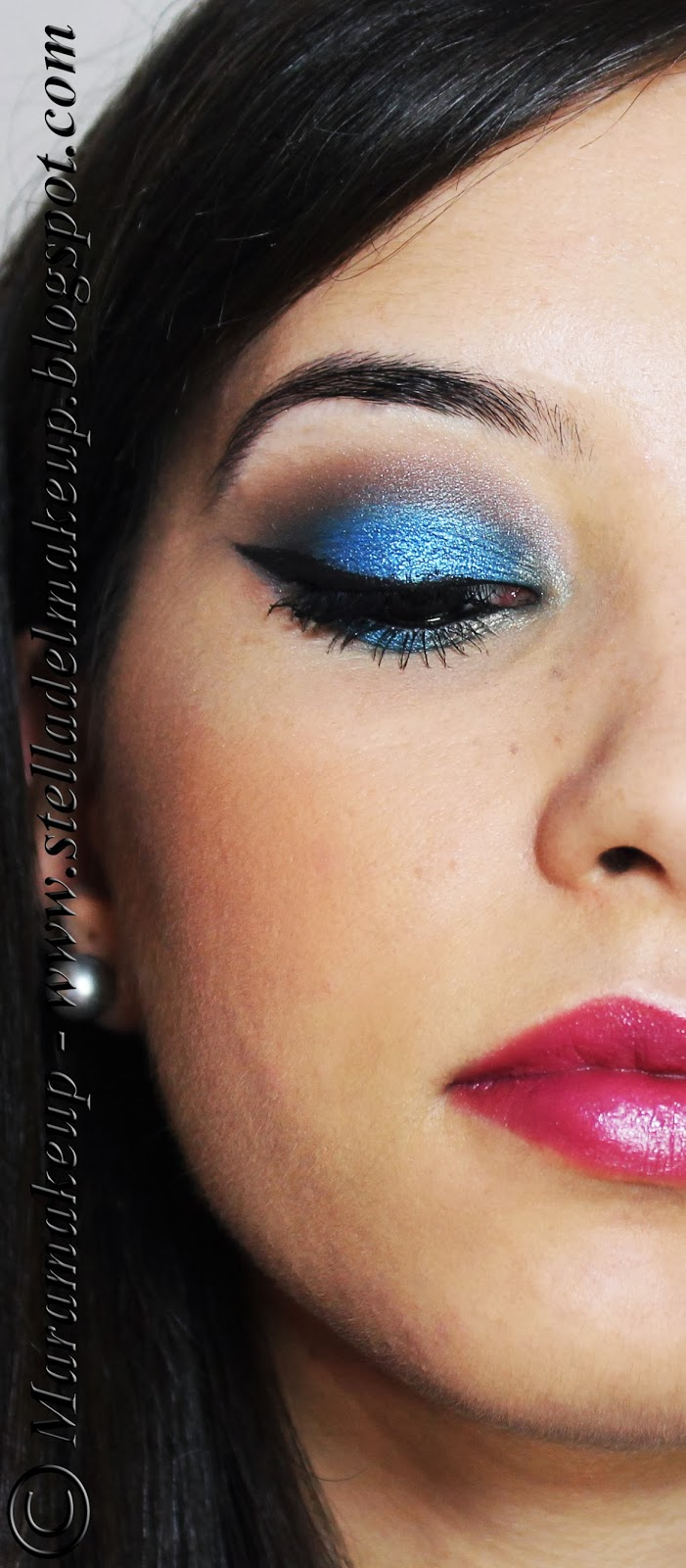 makeup blu metallic eyes