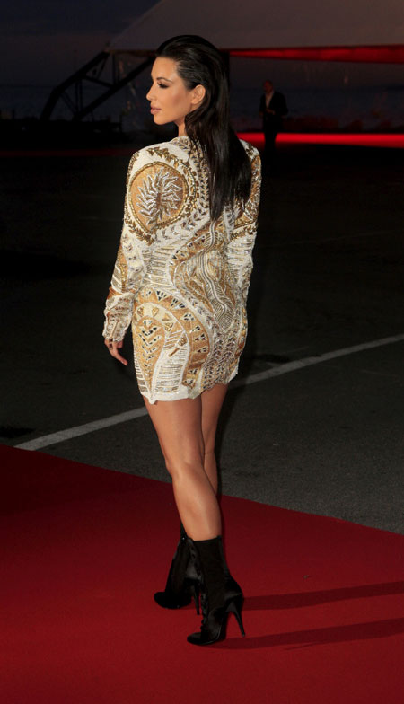 : kim kardashian with deep neck at premiere in cannes - cruel summer latest photos