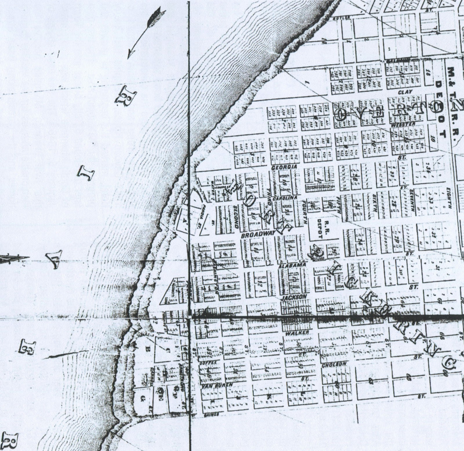 this old map shows the fort pickering subdivision note that the original state streets were georgia and carolina broadway essentially became railroad