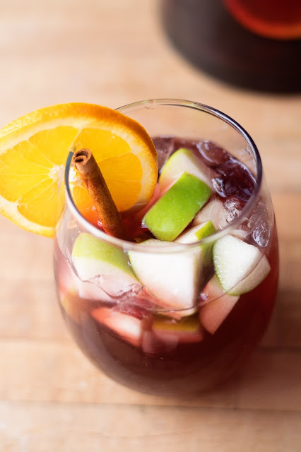 A top view of the sangria in the glass.