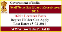 GOVT JOBS FOR 1600+ LECTURER POSTS UNDER SSB ODISHA RECRUITMENT 2016