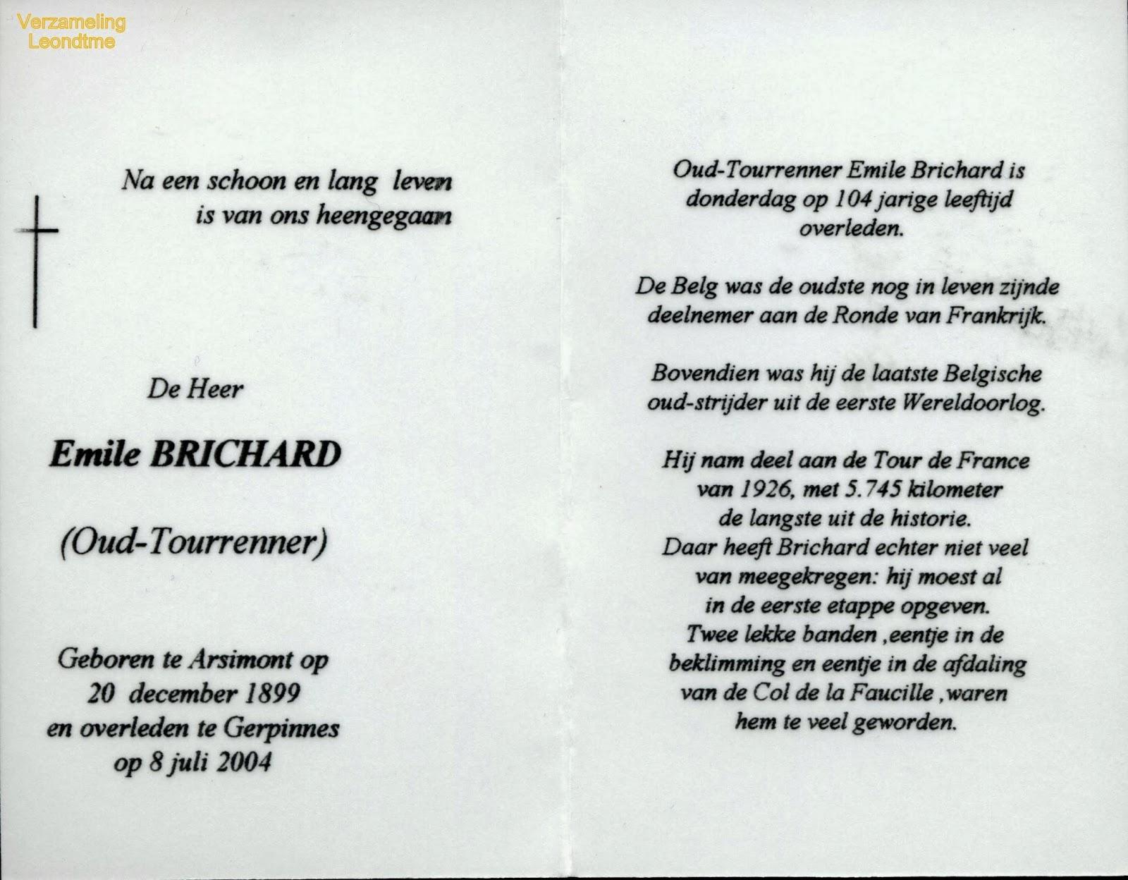 Bidprentje, Emile Brichard 1899-2004. Verzameling Leondyme