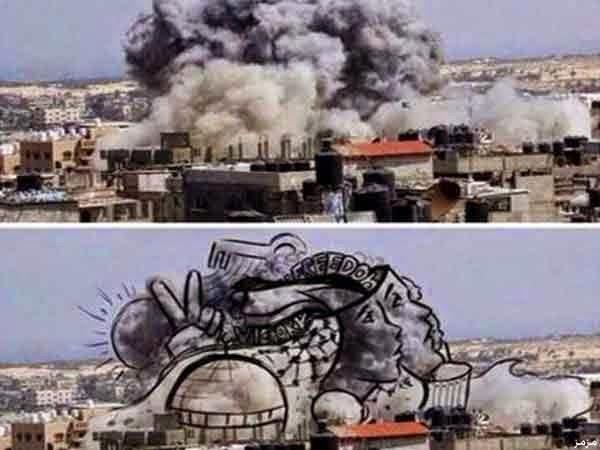 فلسطينيون يحولون دخان الغارات للوحات فنية 7