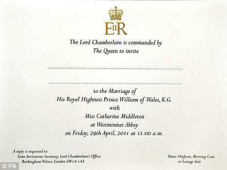 royal wedding pictures. Royal Wedding Invitation