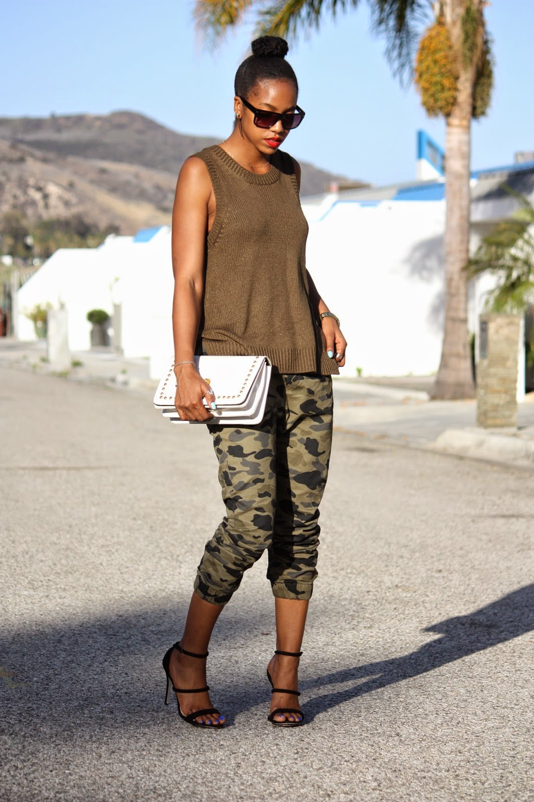 Wearing // H&M khaki knit vest, H&M mens camo pants & sunglasses, Forever 21 heels