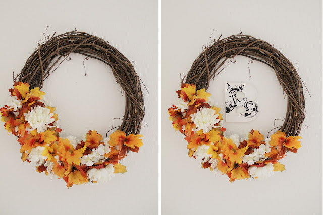autumn wreath monogram homemade