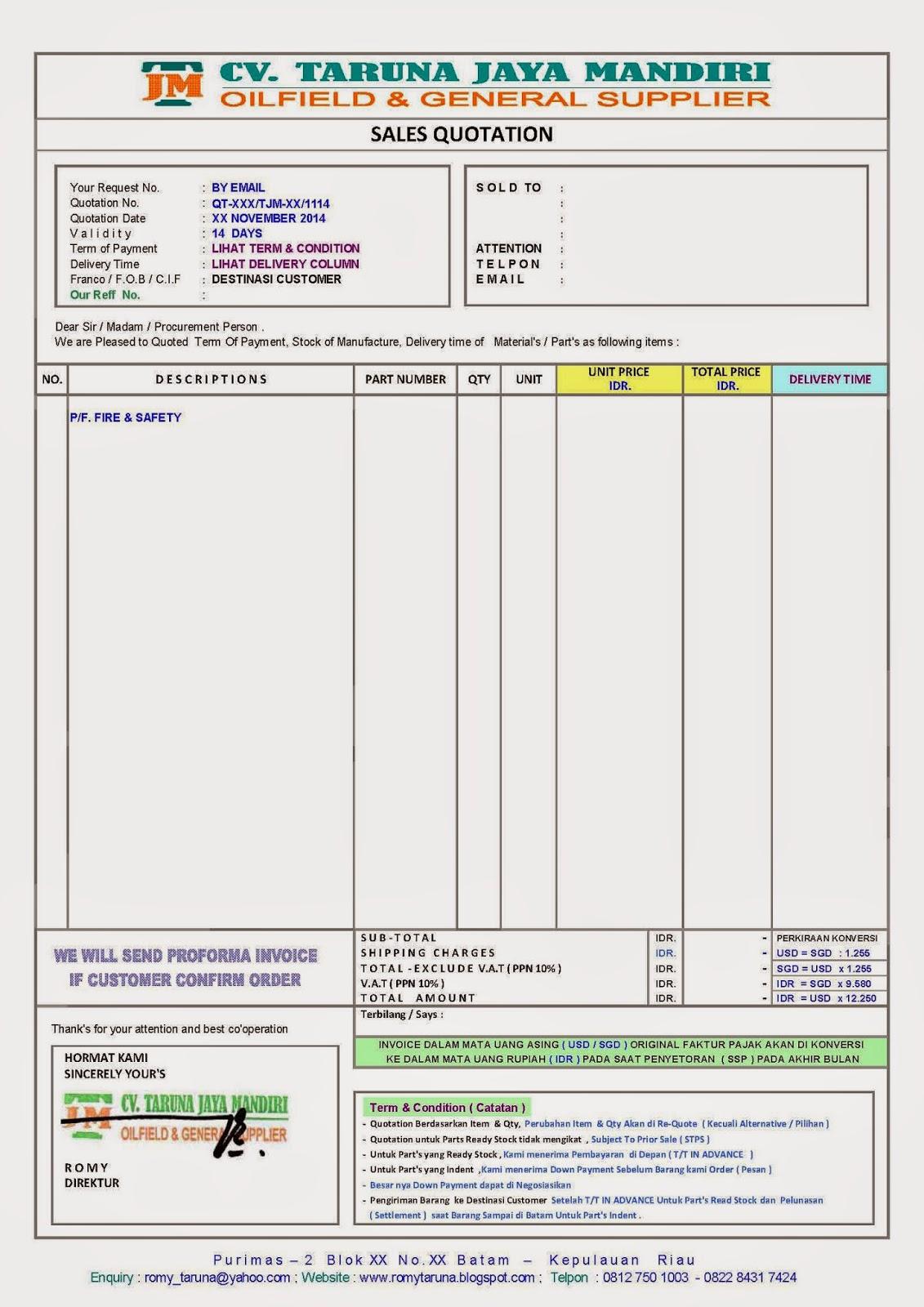 CV TARUNA JAYA MANDIRI CARA PEMESANAN – Contoh Proforma Invoice