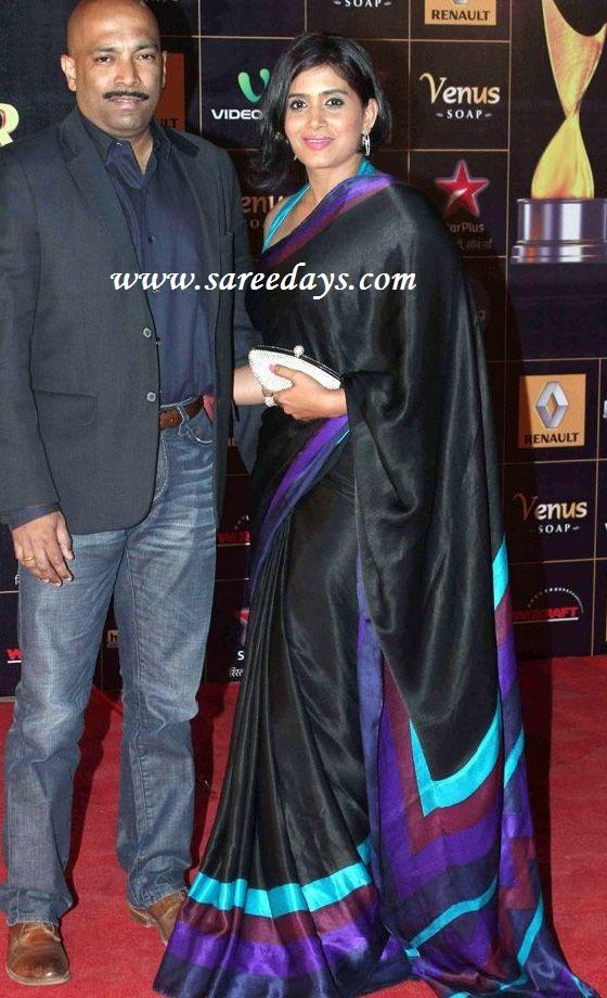 Latest saree designs sonali kulkarni in black crepe designer saree sonali kulkarni in black crepe designer saree altavistaventures Image collections