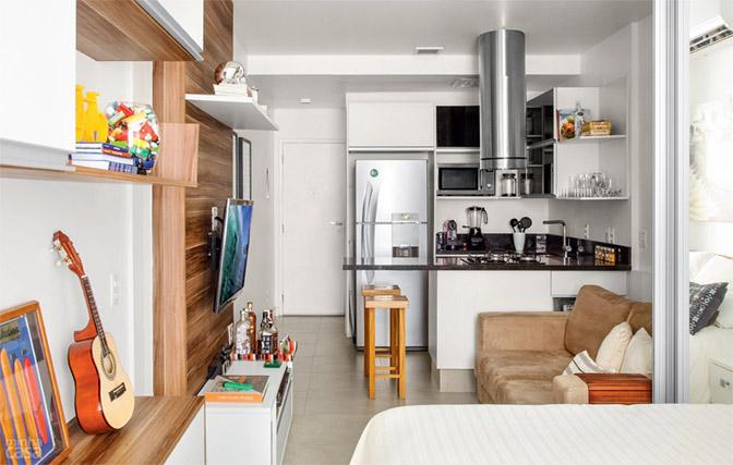 01 quitinete de 26 m2 aposta em moveis planejados e integracao de ambiente Boas ideias para apartamento pequeno ou quitinete!