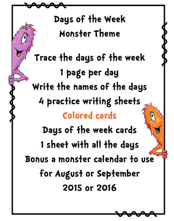 Days of the Week Monster Theme ~ Preschool Printables