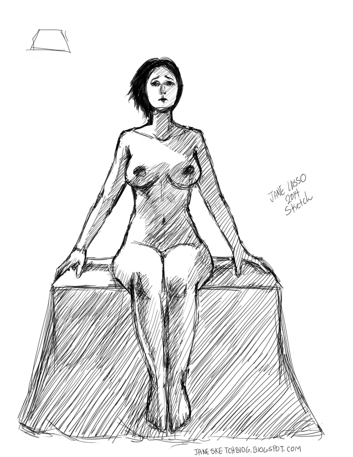 Dibujo de chica sentada en photoshop