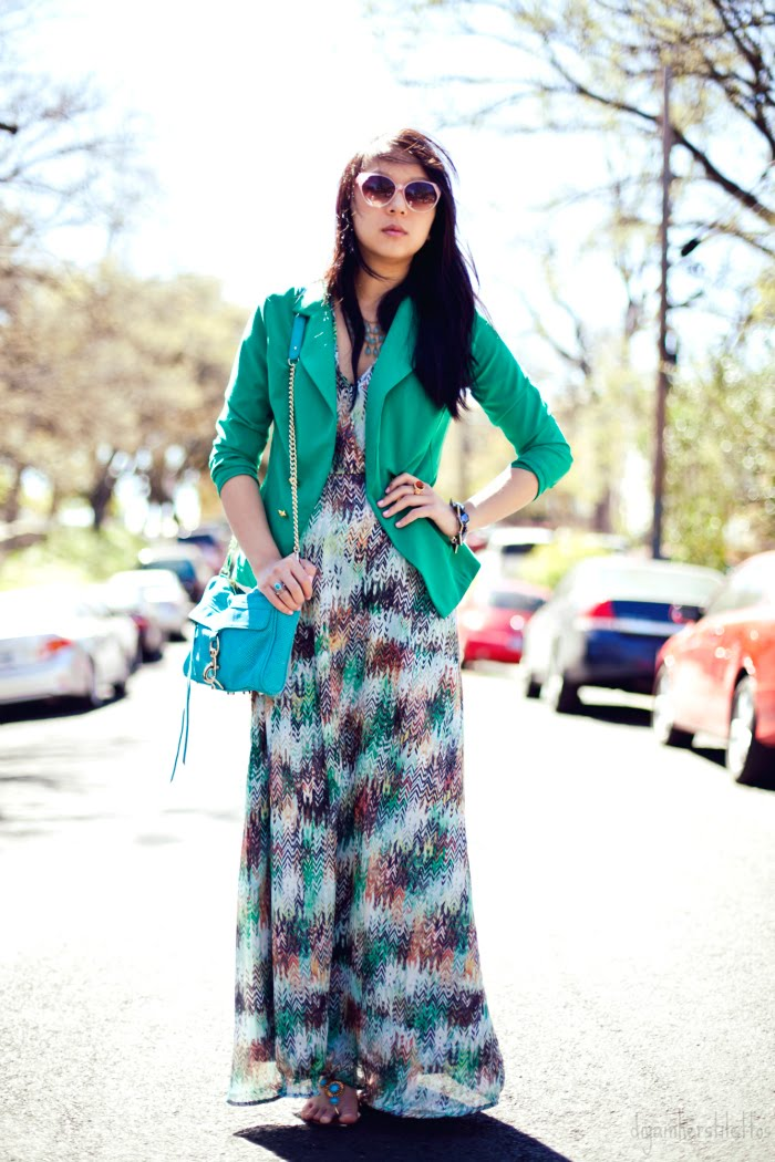 go jane green blazer, rebecca minkoff mac bag, jewelmint bracelet and rings, lulu's printed maxi dress, austin street style, austin fashion blog, diya liu