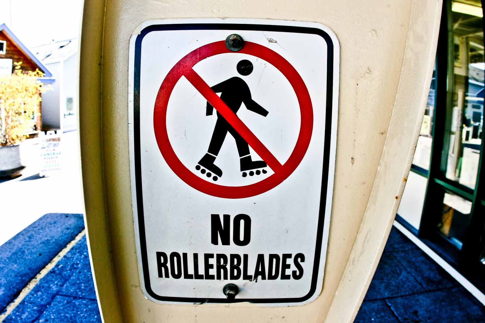 A 'No Rollerblades' street sign in Seward, Alaska.