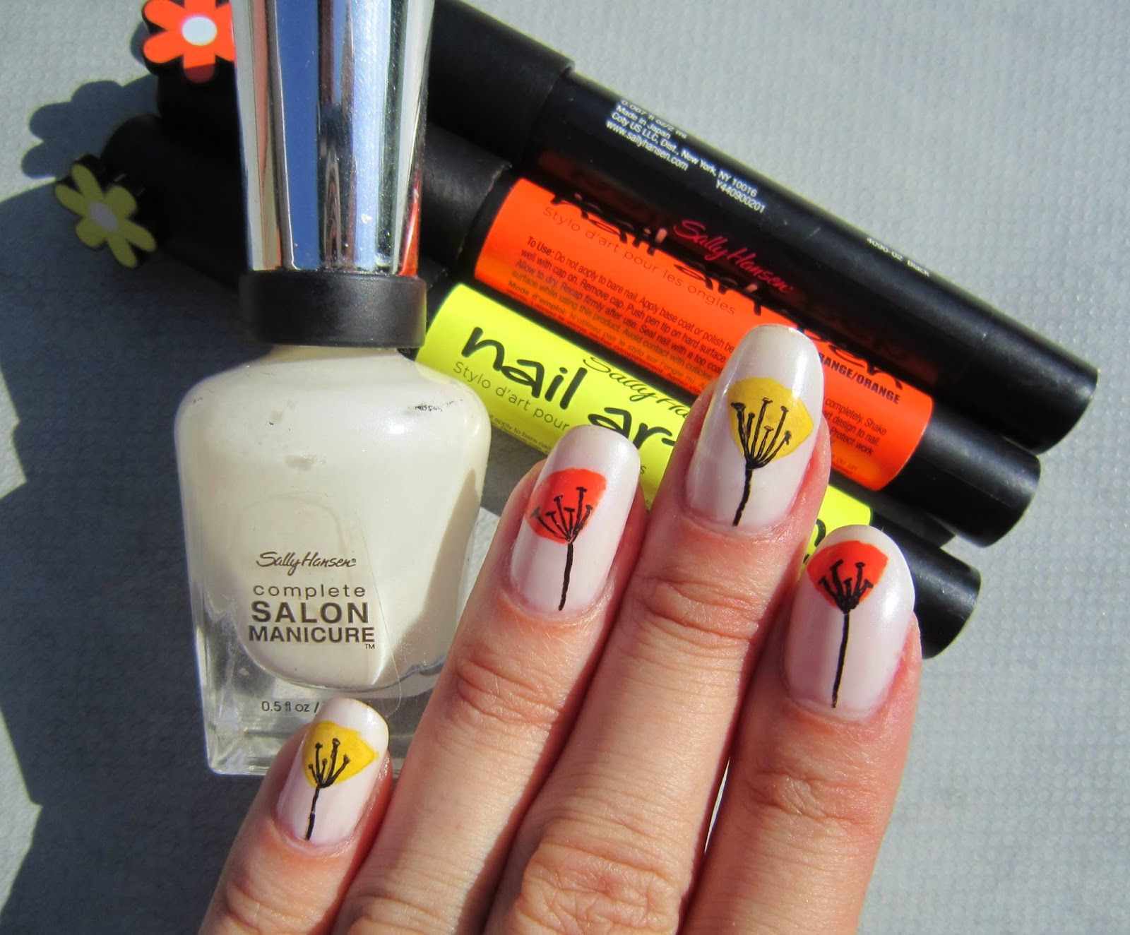 Concrete and Nail Polish: Simple Floral Nail Art with Sally Hansen