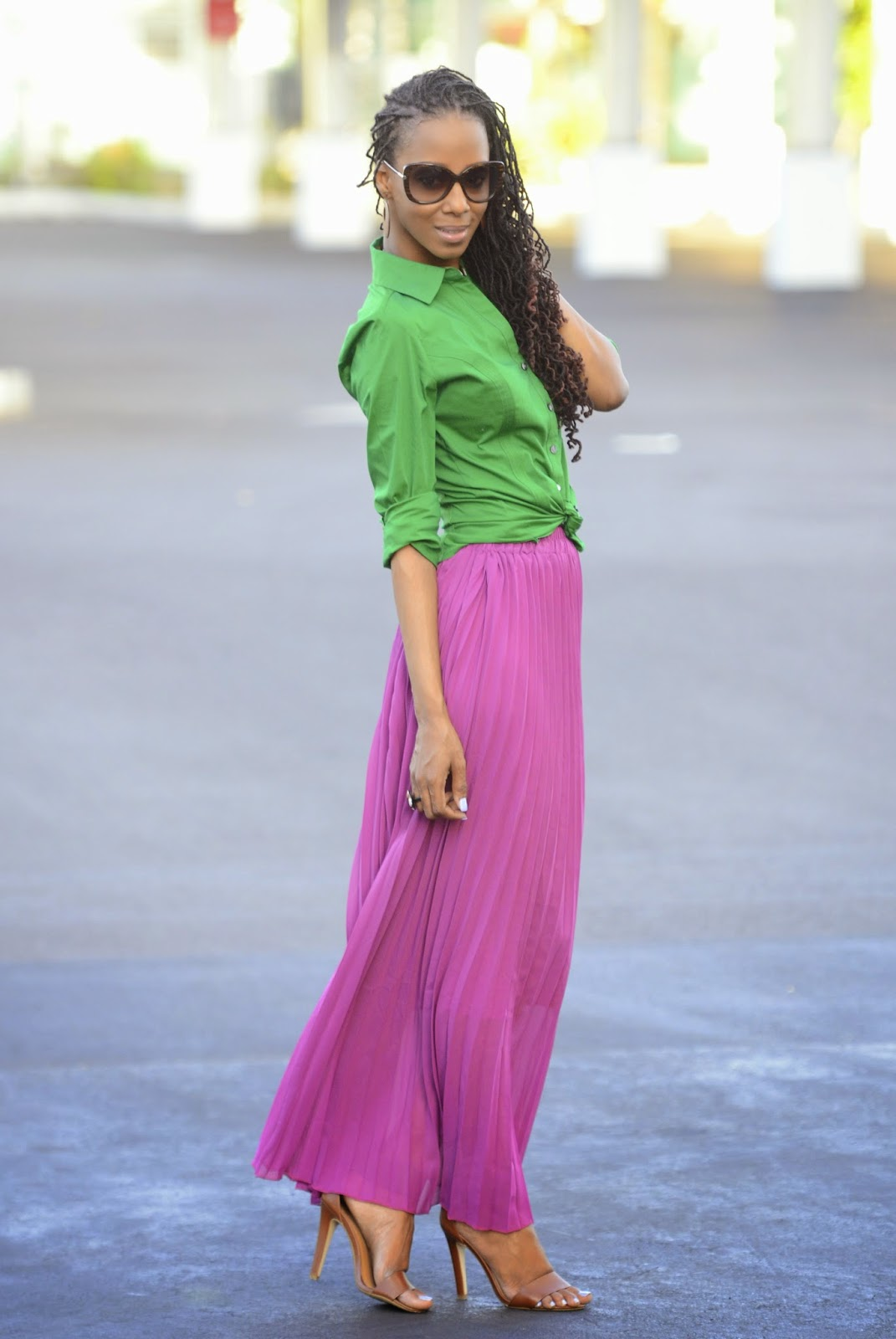 MY STYLE: Spring Brights (Purple Maxi Skirt + Green Blouse ...