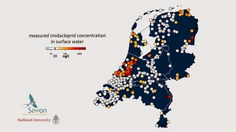 Concentrações de imidacloprida na superfície da água. Alguns pontos apresentam concentrações acima de 1000 nonogramas por litro.