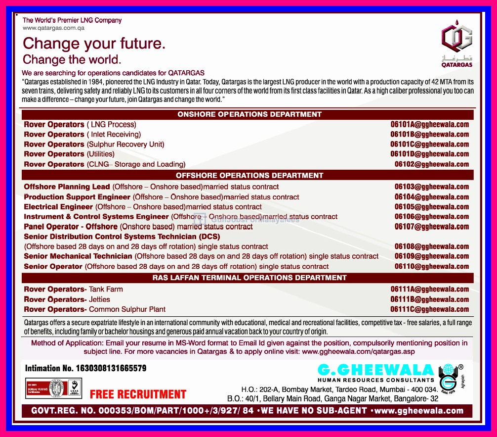 qatar gas recruitment 2013 lng company qatar g gheewala qatar gas recruitment 2013 lng company qatar g gheewala consultants jobs recruitment middle east