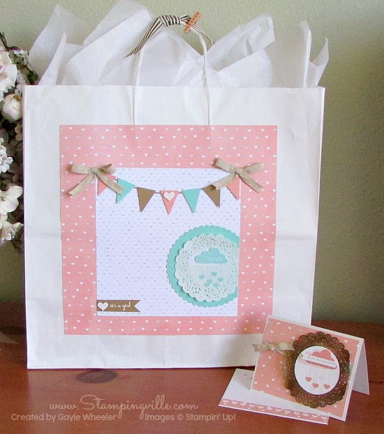 Adorable baby shower card + gift bag with Hello Love stamp set by Stampin' Up!