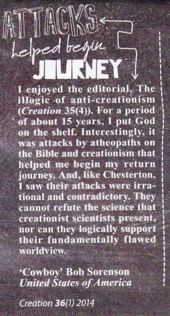 Cowboy Bob Sorensen, fundamentally flawed, Creation Magazine, Creation Ministries International, Dr. Jonathan Sarfati