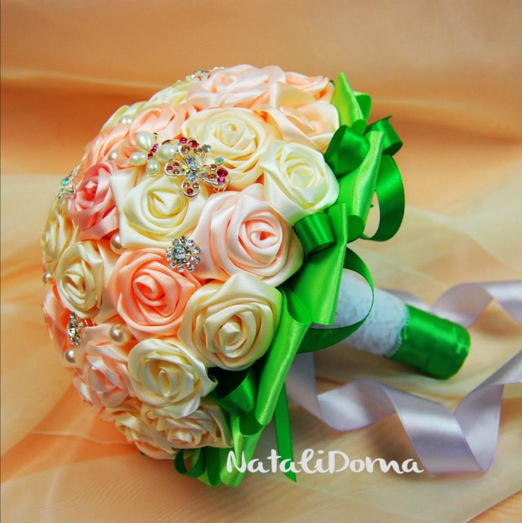 Сделать свадебный букет из лент